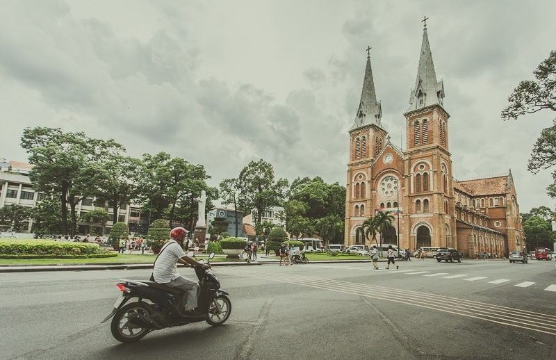 saigon notre dame cathedral is located downtown ho chi minh city
